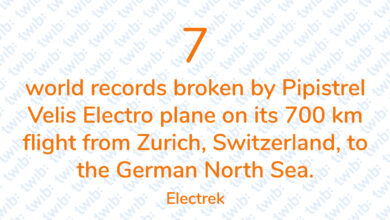 Photo of 7 world records broken by Pipistrel Velis Electro plane on its 700 km flight from Zurich, Switzerland, to the German North Sea.